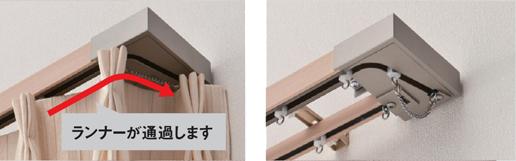 TOSO カーテンレール レガートスクエア 「リターン」縫製をしなくても遮蔽・省エネ効果を高めるメタルRキャップ