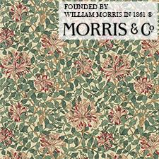 【カーテン生地】ウィリアムモリスwilliammorris絡み合った葉を背景にスイカズラの花を散らすように描かれたハニーサックル