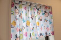 ディズニー ツムツム 撥水加工 風呂 キッチン トイレ シャワー カフェカーテン1