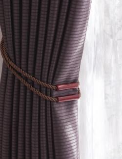 【カーテンタッセル】バウム タチカワブラインド ブラウン カーテンを束ねた様子2