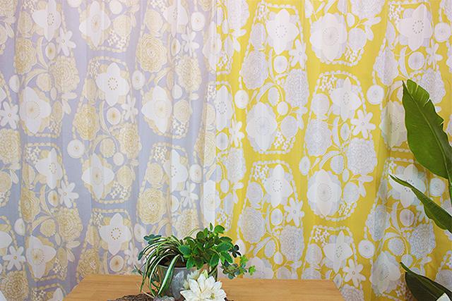 【オーダーカーテン】デザインライフ 愛らしいフラワーモチーフ イハナ 2色