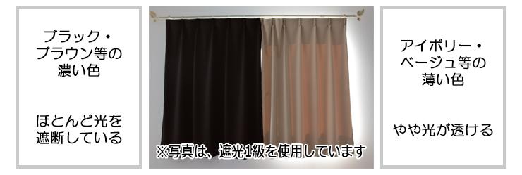 遮光カーテン 淡色 濃色 透過度 比較写真