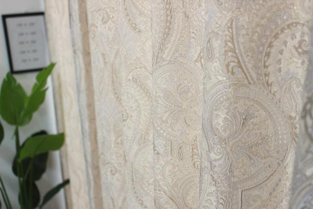 【オーダーカーテン】アラジン(全4色) ペイズリー柄 アイボリーDZ249 中間アップ
