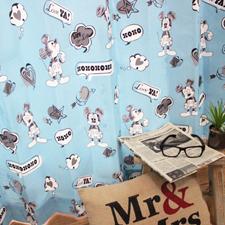 【既製品カーテン:2枚入り】ミッキーFU ブルー 3サイズ同一価格