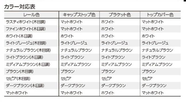 【カーテンレール タチカワ】スタイリッシュなデザインで上質コーディネイトファンティアカラー対応表