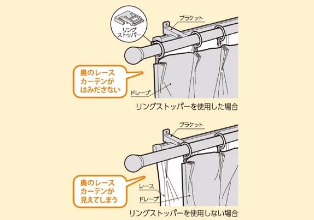 タチカワブラインド カーテンレール ルナージュ カーテン端部を固定できるリングストッパー