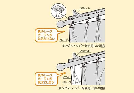 タチカワブラインド カーテンレール ソファレ カーテン端部を固定できるリングストッパー